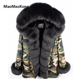 Wholesale Real Fur Trimmed Coats Women - MAOMAOKONG Camouflage winter jacket women outwear thick parkas natural real fox fur collar coat