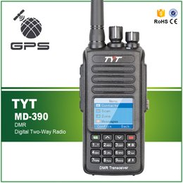 Wholesale Ip Earphone - New Arrival GPS Function Waterproof IP-67 5W UHF 400-480MHZ Digital Commercial Radio Transceiver TYT MD-390 Free Earphone Cable