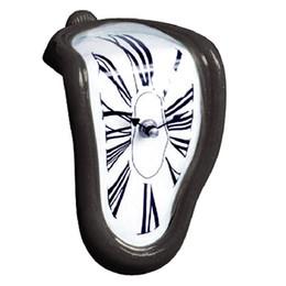 Wholesale Needle Clock - Creative Block Twisting Clock Digital Retro Distortion Irregular Clock Bending Wall Clock