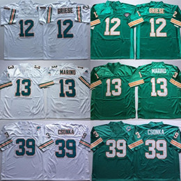 Wholesale road fashion - #12 Bob Griese Jersey Embroidery #13 Dan Marino Retro Jerseys Fashion Home Green Road Away White #39 Larry Csonka Jersey