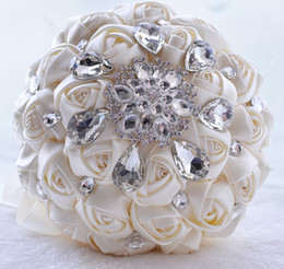 Wholesale Cream Bridal Flowers - Elegant Cream Wedding Bouquets 2018 With Sparkly Crystal Beaded Rhinestones Silk Rose Flowers Free shipping Designer Cheap Bridal Bouquet