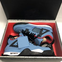 Wholesale down fabric - (With Box) 2018 New Travis 4 4s Kaws Cool Blue Glow Mens Basketball Shoes High Quality men women Sports Sneakers Shoes Free Shipping