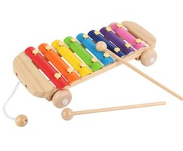 Wholesale percussion music instruments - Pull Along Toys Hand Knock Xylophone Percussion with 8 Scales Kids Wooden Music Instrument Toys - 28*14.5cm