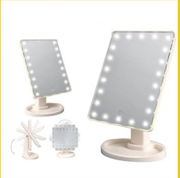 Wholesale 16 led screen - 16 LED 22 LED Light Makeup Cosmetic Mirror Touch Screen Lighted Tabletop 360 Degree Rotation light cosmetic mirrors KKA3901