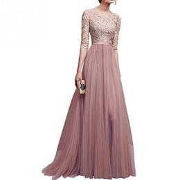 2019 embelleció los vestidos largos moldeados de la manga Señoras de las mujeres elegante gasa maxi vestido de encaje floral empalme vestido de tul una línea de fiesta de bodas de baile plisado