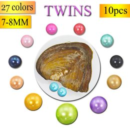 Wholesale Wholesale Oyster Shells - 27 Colors Pearls Freshwater Vacuum-pack Oyster Wish Pearls, Pearl Mussel Shell with 7-8MM Twins Pearl Inside,Mounting AB046