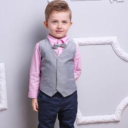 Vestito giubbotto bambino online-New Spring Autumn Baby Boys Set Gentleman Camicia per bambini + Gilet + Pantaloni 3 pezzi Bambini Ragazzi Abiti Abbigliamento completo W093