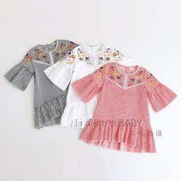 Wholesale Boat Buckle - Girl's Color Embroidery Dress Strip Boat Neck Buckle Mosaic Cotton Blends Pleated Half Sleeve 110 cm-140 cm