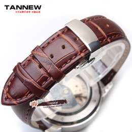 Wholesale 28mm Ships - Brown leather strap watch strap 24mm 26mm 28mm with stainless steel butterfly clasp free shipping