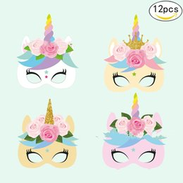 Wholesale Masquerade Mask Kids - Paper Unicorn Face Mask 12pcs In 1set Unicornio Masquerade Masks For Kids Party Cosplay Costume Dress Up Multi Design 10pc YZ