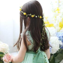 cesta de buquê de flores artificiais Desconto Nupcial Do Casamento Da Dama De Honra Floral Headband da menina da flor coroa de flores headband Terylene Bohemian Flor Longa cauda Garland 10 cores florais.