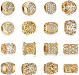Wholesale Handmade Diamond Necklace - Europe Style DIY Diamond Handmade Real Gold Plating Big Loose Beads,Varieties Bracelets Charms Pendants Necklace for Fashion Lady