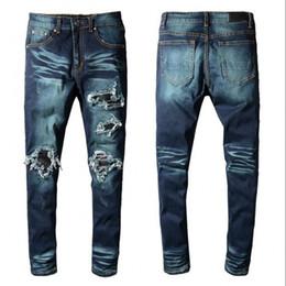 Pantalon jeans design en Ligne-2018 Jeans de haute qualité Marque SRPING BIKER DENIM JEANS HOMME DESIGN DES LOS ANGELES STREET FASHION Impression de trous JEANS PANTALON SLIM SKINNY
