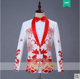 Wholesale formal dress coat for men - Chinese style blazer men formal dress latest coat pant designs embroidery marriage suit men wedding suits for men's white singer