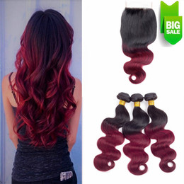 Wholesale Christmas Hair Bundles - Red Ombre Hair Bundles Brazilian Hair Body Wave 3 Bundles Ombre Hair Bundles with Closure Soft Thick Bouncy Smooth Merry Christmas