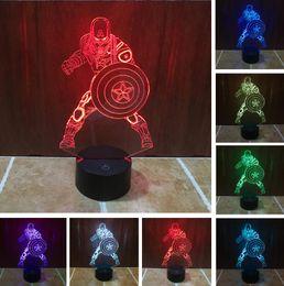 Lâmpada américa on-line-Filme Capitão América Escudo Figura 3D Multicolor Mudança mesa de Acrílico luz da noite LEVOU ilusão Toque lâmpada Menino Homem crianças brinquedo Presente Da Gota do navio