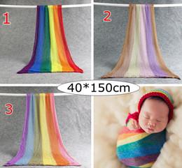 Hilo de bebé online-INS recién nacido arco iris bebé que recibe mantas algodón infantil hilado mantas elásticas accesorios de fotografía 40 * 150 cm 3 colores elegir envío gratis