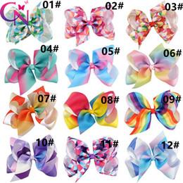 2019 matériaux de porte-clés en gros Pince à cheveux géométrique arc-en-ciel pour les filles arc coloré Cheerleading Accs pour les étudiants Bravo nœuds Cravate Cheerleading fournitures