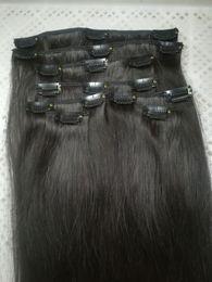 Canada Promotion Prix 70g 100g 120g 140g 160g Droit Remy Clip en extension de cheveux humains Noir Brun Blonde pour choix de couleur 14