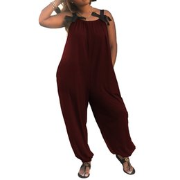Discount long loose summer pants - Oversized Rompers Women Jumpsuits 2018 Summer Sleeveless Casual Loose Solid Long Harem Pants Playsuits Baggy Strappy Overalls