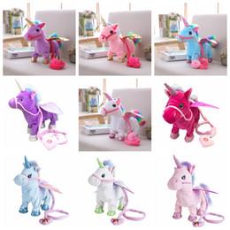 2020 juguetes de peluche de pony Unicornio eléctrico Juguetes de Peluche de Muñeca Caminando Animal de Peluche Caballo Juguete Música Electrónica Cantando pony Juguete Chinldren Navidad Artículos de Novedad GA1262 juguetes de peluche de pony baratos