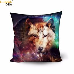 Wholesale wolves bedding - Hugsidea Cool 3d Animal Brother Galaxy Wolf Printed Pillow Case Living Room Bed Sleep Pillow Covers 50cm *50cm Square Pillowcase