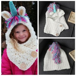Wholesale Children Handmade Scarf - Kids Knitted Unicorn Cap Scarf 2 in 1 Unicorn Handmade Winter Hat Wrap Unicorn Caps Cute Warm Children Knitted Scarves OOA4109