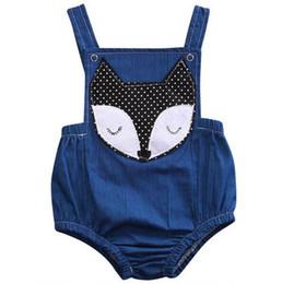 Wholesale girl jumpsuit denim baby - Cute Newborn Baby Girls Fox Romper Clothes Summer Sleeveless Backless rompers Toddler Denim Jumpsuit Kids Sunsuit