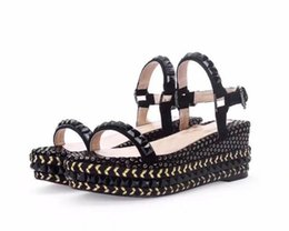 Wholesale High Ankle Gladiator Sandals - Brand New Women Sandals 2018 Luxury Red Bottom Woman Gladiator Sandals Platform Cataclou Studded Wedge Shoes Party Wedding Evening Shoes