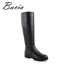 Stivali al ginocchio Lunghi capelli caldi all'interno per gli appartamenti invernali fatti a mano di alta qualità Stivali in vera pelle nera per le donne VB026 da