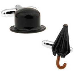 Новое прибытие мода манжеты кнопка для мужчин черный живопись Чаплин HatUmbrella стиль мужчины манжеты кнопка Оптовая запонки abotoadura от