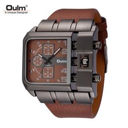 Oulm composer une montre en Ligne-Oulm Marque Original Unique Design Carré Hommes Montre-Bracelet Large Big Dial Casual Bracelet En Cuir Quartz Montre Homme Sport Montres