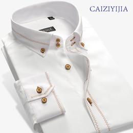 Chemises marques chine en Ligne-CAIZIYIJIA Hommes Angleterre Marque-Clohting Silm Fit Chemises À Manches Longues Haute Qualité Coton Importé-chine Camisa Masculina
