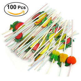Wholesale cocktail drinks decoration - 100pcs 24cm 3d Party Straw Multicolor Fruit Plastic Straw Cocktail Drinking Straw Hawaiian Wedding Party Decoration Drink Decor