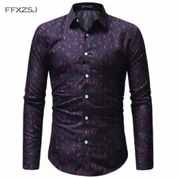 70668d690c FFXZSJ marca de moda imprimir Casual hombres de manga larga camiseta de  costura de la tela de moda suave cómodo vestido de los hombres Slim Fit  estilo XXXL ...