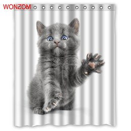 modern shower curtain Coupons - WONZOM Cat Shower Curtains Bathroom With 12 Hooks Waterproof Accessories For Decor Modern Animal Bath Curtain New Gift