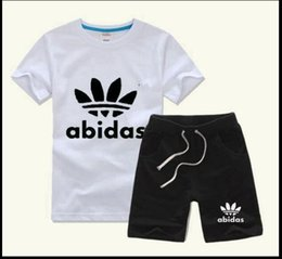 Wholesale New Baby Boy Clothing - HOT SELL 2018 New Style Children's Clothing For Boys And Girls Sports Suit Baby Infant Short Sleeve Clothes Kids Set 2-7 Age
