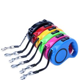 Wholesale 5m retractable dog lead leash - Wholesale 11 Colors 3 5M Retractable Dog Leashes lead Pets Cats Puppy Leash Automatic Pet Lead Tools Training Collars Dog Pet Supplies