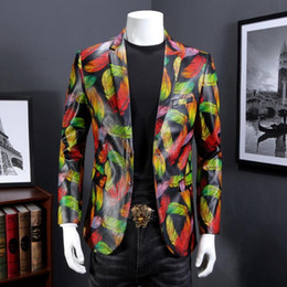 Wholesale Colorful Mens Suits - Men Blazer 2018 Designer Colorful Mens PU Fancy Suits Blazer Gold Blazer For Stage Costumes For Singers Vintage Suits Party Prom Dresses