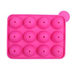 12 poços de silicone bandeja pop pirulito pops mold case cupcake ferramentas de cozimento molde do chocolate do partido de cozinha 10 pçs / lote supplier silicone lollipop pop mold de Fornecedores de molde pop de pirulito de silicone