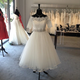 Wholesale Tea Length Off White Skirt - Tea Length Wedding Dress Short Off the shoulder 2018 With Sleeves Lace Applique A line Tulle Ruched Wedding Bridal Gowns Cheap