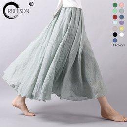 Wholesale Linen Cotton Skirts - ORDEESON Summer 2017 Loose Cotton Linen Elastic Waist Long Skirt Women Pleated Cotton Beach Boho Vintage Maxi Skirts Faldas Saia