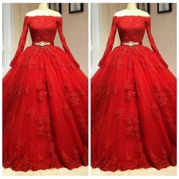 Wholesale Key Cap Light - 2018 Bateau Long Sleeves Ball Gown Quinceanera Dresses Lace Appliques Tulle Key Hole Back Corset Sweety 16 Dresses Prom Party Gowns