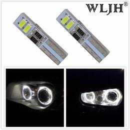 Wholesale Vw Led Headlights - WLJH Canbus T5 LED Headlights Headlamp Light Angel Eyes for Ford Focus 2 II for VW Golf 4 IV for BMW Serie 3