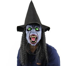 Wholesale haunted house masks - Halloween Fangs Night Witch Horror Mask Bar Haunted House Dance Props Hooded Horror Whole Person Mask