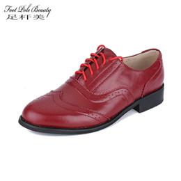 sapatas grandes dos pés Desconto PÉ POLEZA BELEZA Marca Mulheres Apartamentos de Alta Qualidade de Couro Genuíno Boi sapatos oxford para as mulheres tamanho grande 47 sapatos de couro