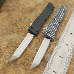 Wholesale mini blades - the one mini Key keychain buckle automatic knife aluminum double action satin 440C tanto blade Folding knife xmas gift knife 1PCS