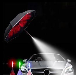 Wholesale Car Umbrella Cover - LED Inverted Umbrella Travel Folding Cars Warning Flashlight Rain Emergency SOS LED Umbrella Inverted With Umbrella Cover Case KKA4285