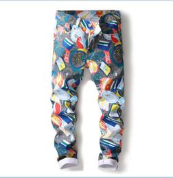 3c649fe7712d3 2019 Men jeans trousers Stretch digital printed slim elastic designer jeans  big size straight leg trousers size 28-38 5005