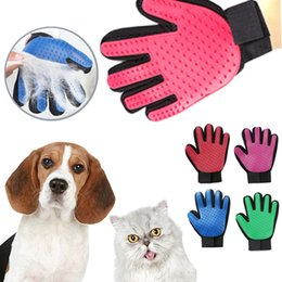 Wholesale lighted pet - Pet Hair Glove Dog Brush Comb For Pet Grooming Dog Glove Cleaning Massage Supply For Animal Finger Cleaning Cat Hair Glove